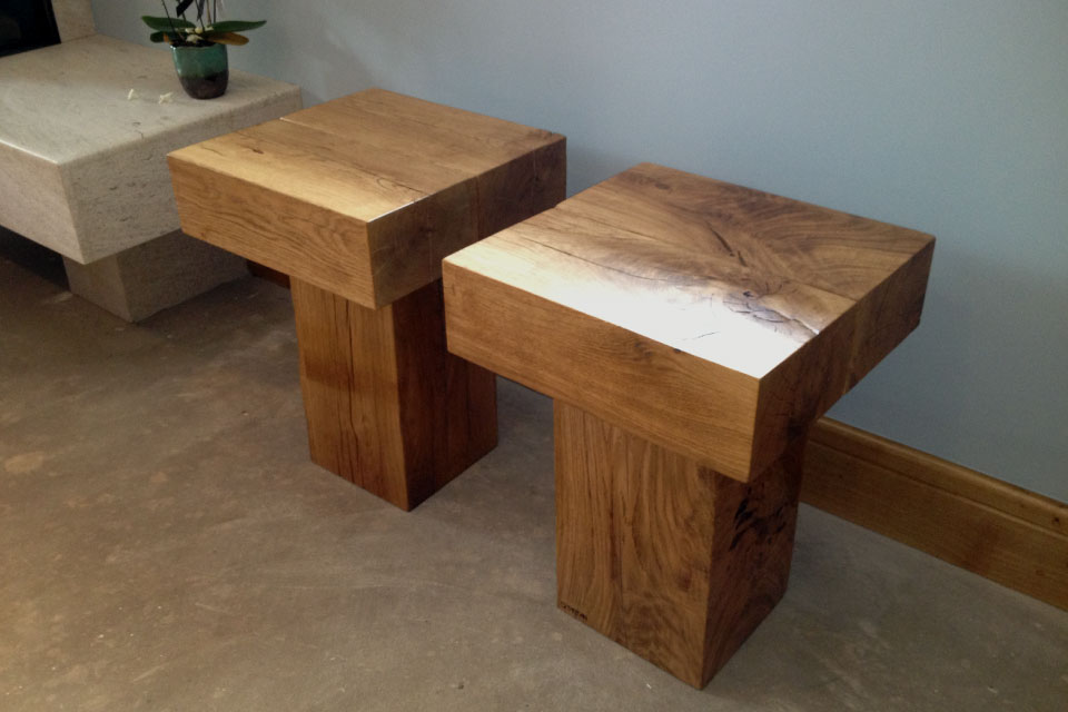 Oak Block Side Tables Rustic Wooden Styles Abacus Tables