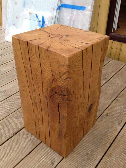 Block Wood Side Table ~ Oak block side tables rustic wooden styles abacus
