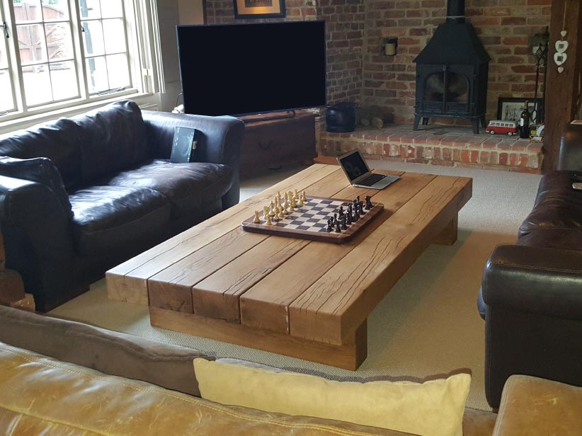 chunky oak beam coffee table from abacus tables arabica 5 beam x 2m classic style