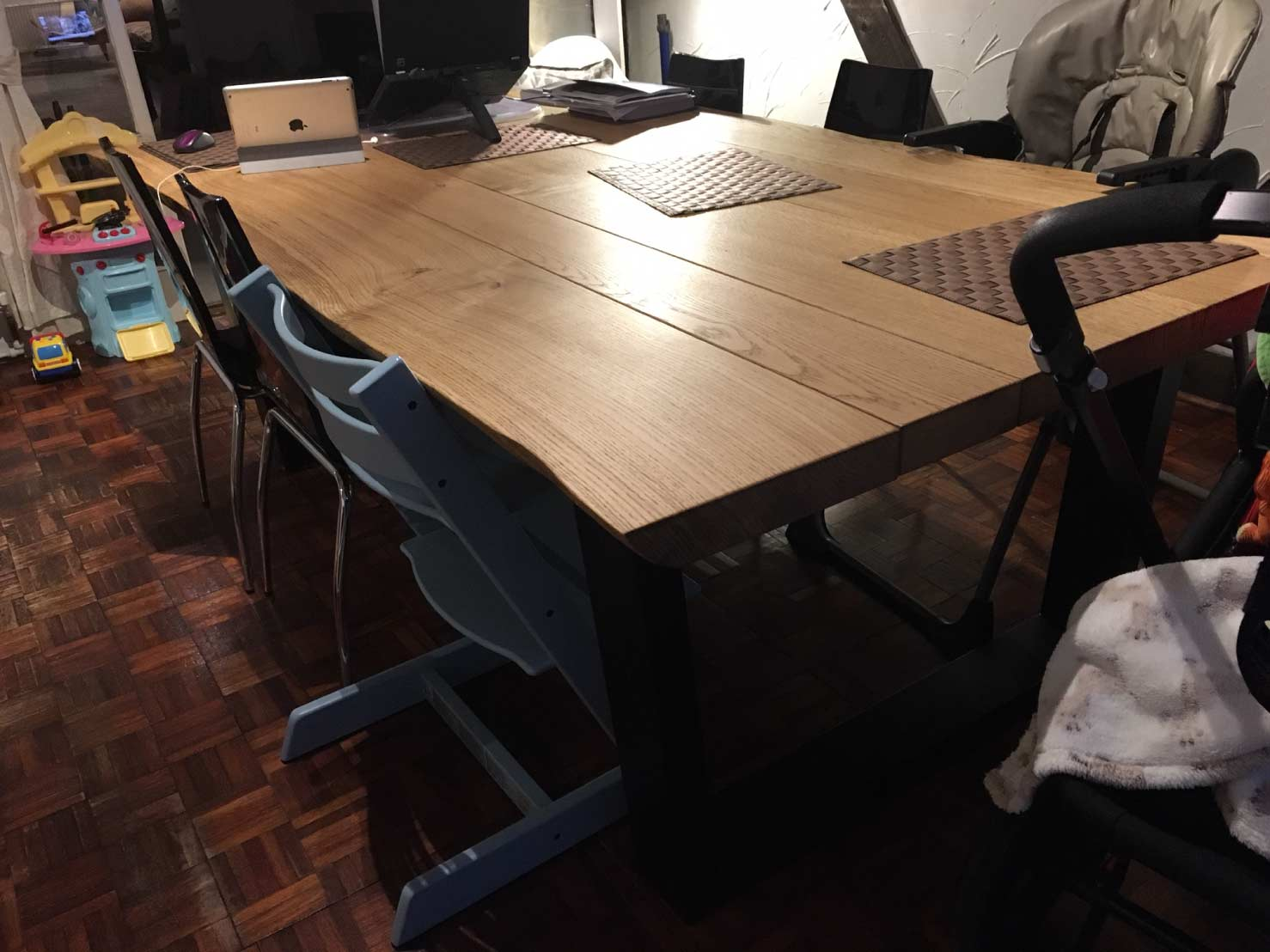 Industrial style dining table from abacus tables komodo for Styling a dining table