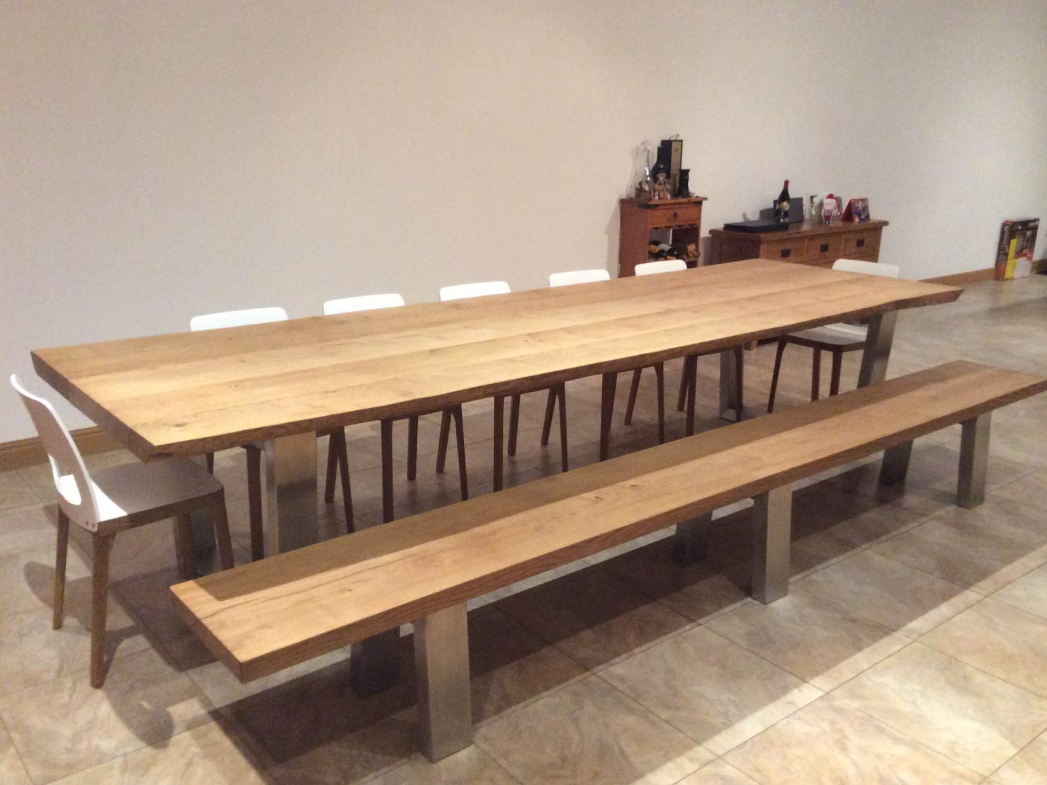 large-dining-table-set-from-abacus-tables-komodo-3.3-with-matching-bench-&-chairs-project-454