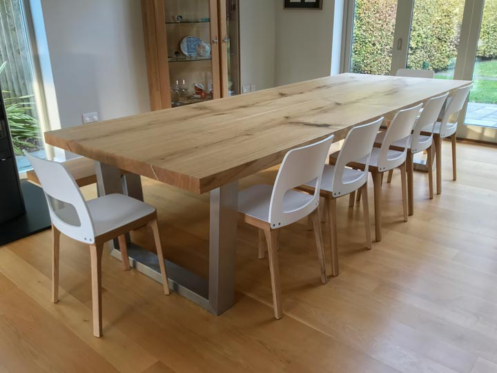 Large Oak Slab Dining Table Abacus Tables