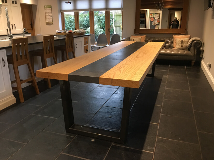abacus tables project 646 large oak dining table with dekton centre